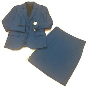 J Crew 1035 Super 120s Wool Lined Lagoon BLUE JACKET & PENCIL SKIRT Suit SIZE:2P