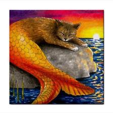 Cat Mermaid 30 Ocean Fantasy Large Ceramic Tile 6x6 Printed USA art LDumas