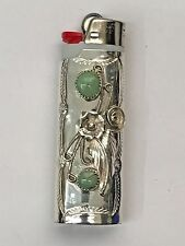 Sterling Silver Navajo Handmade 2 Green Turquoise Large Bic Lighter Case/Cover