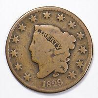 1829 CORONET HEAD 1c LARGE CENT Lot#B151