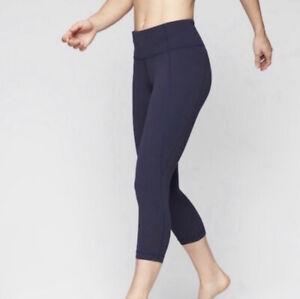 Athleta High Rise Navy Blue Chaturanga Capri Leggings Womens Active Pant MediumP