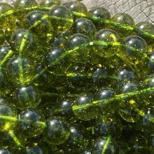 8mm Natural Green Peridot 46 Round Beads 1mm Hole