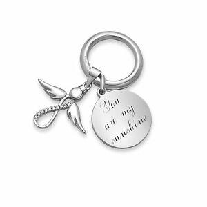 Gravur Schlüsselanhänger  aus 925 Silber You Are My Sunshine mit Infinity Engel