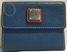 *Dooney & Bourke*Pebble Grain Leather*Denim Blue* Small FLAP Wallet #17094B S165