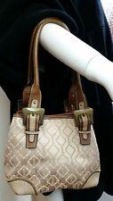 """Tignanello cream champagne textile & tan leather trim shoulder bag 7.5 x8.5 x 6"""""""
