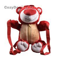 New Toy Story Lotso Bear Strawberry Bear Backpack Bag Plush Toy 35cm Teddy Gift