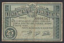 J.B.  BILLETE DE FONTS DE SACALM  , 25 CÉNTIMOS , Spanish Civil War Banknote