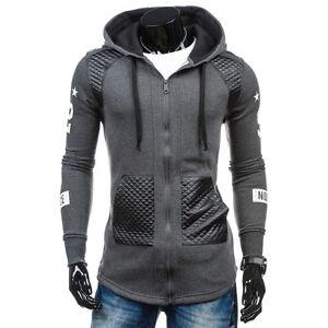 Men's Winter Outwear Sweater Leather Hoodie Hooded Sweatshirt Coat Jacket New