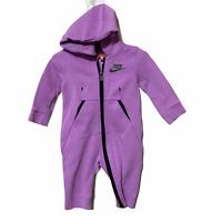 Nike Tech Fleece Hooded Full Zip Romper Baby Girl Size 6-9 Month Purple