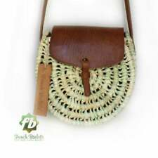 Straw & Leather Crossbody Shoulder Bag Moroccan Handmade by French Baskets