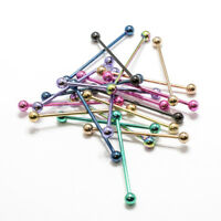 20 Pack Industrial Barbell Ear Piercing Anodized Titanium 14G Cartilage 38mm