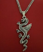 Dragon Necklace Charm Pendant and silver plated chain 18inch 45cm long animal