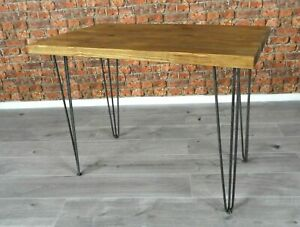 INDUSTRIAL SOLID WOOD RUSTIC HANDMADE CHUNKY RETRO DINING DESK HAIRPIN TABLE