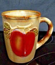 "Studio Pottery Stone Earth Tone Bamboo Embossed RED APPLE Coffee Tea Mug Cup 4"""