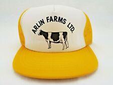 Vintage Arlin Farms Farmer Trucker Hat Yellow Mesh Snapback Young An