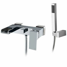 Waterfall Square Chrome Wall Mounted Bath Filler Shower Mixer Tap Bathroom