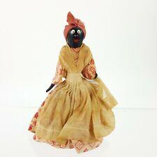 "Vintage 4"" Handmade Doll Bell w/ Fabric Dress Apron Black African American"