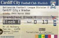 Ticket - Cardiff City v Wrexham 24.03.02