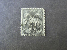 FRANCE, SCOTT # 86, 1c. VALUE 1877-80 BLACK/LILAC BLUE PEACE/COMMERCE ISSUE USED