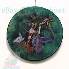 Chinese Folk Art Hand Painted ⌀28cm Wood Plate wall tabletop decor-Cranes & Girl