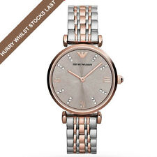NEW Emporio Armani AR1840 Silver & Rose Gold Two Tone Gianni Ladies Analog Watch