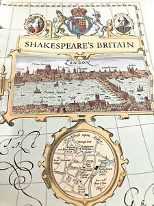 Shakespeare's Britain Map - National Geographic Society 1964 - Plays & Settings