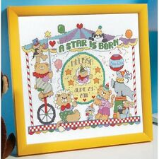 COUNTED CROSS STITCH Kit - Animal Circus A Star is Born - BABY BIRTH Record