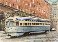"Watercolor Original Painting 11"" x 15"" Famous Tram  NOT A PRINT"