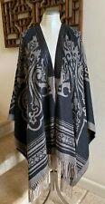 NWOT ETRO Mantella Brown Leather-Trim  Fringe Cashmere Shawl Cape Wrap, One Size