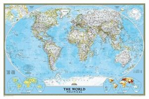 NATIONAL GEOGRAPHIC WORLD MAP Travel Map, Rolled, Size 24x36