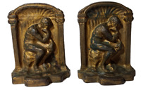 Antique Solid Brass Bronze THE THINKER  Bookends American History Book Ends