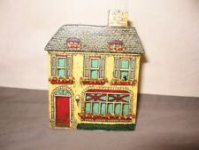 Shelf Sitter Yellow House With Window Boxes w/Flowers VGC