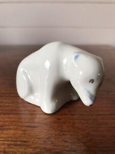 Vintage White Porcelain Polar Bear Sitting Down Figurine No Makers Mark