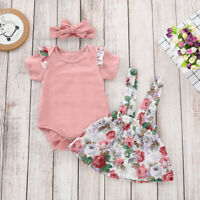 ❤️Newborn Baby Girl Clothes Ruffle Romper Tops+Floral Skirt+Headband Outfits Set