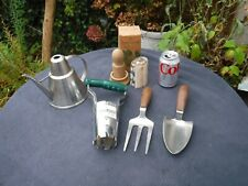 Mixed Lot of Hand Held Gardening Tools Plus Paper Potter & Metal Watering Can