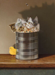 """Braldt Bralds  Cat In A Can Canvas STRETCHED - Size 11"""" x 15"""" - Ready To Hang"""