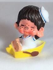 Monchhichi PVC Mini Figure - YELLOW ROW BOAT - Vintage Monchichi Sekiguchi