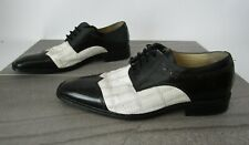 Steve Harvey Dress Shoe Black And White Crocodile Size 10 Lace Up