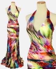 NWT Jovani Size 0 Prom Formal Evening Long Halter $500 Mermaid Print Mult Gown