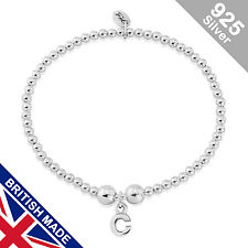 Trink Initial 'C' Letter Charm Sterling Silver Beaded Bracelet Top Gift/Present