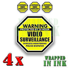 Warning 24 hour Video Surveillance Security Stickers YELLOW Decals 4 PACK 5""