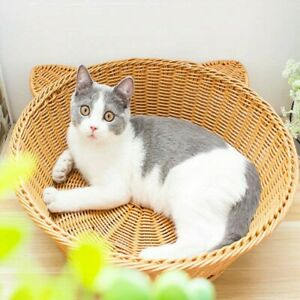 Handcraft Rattan Cat Bed Couch Cool Round Pet Kitty Sofa Basket House Brown