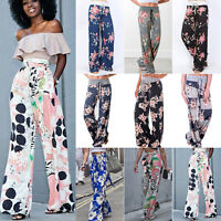 Women Floral Palazzo Wide Leg Yoga High Waisted Pants Flare Loose Casual Trouser