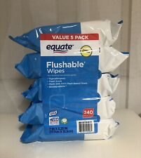 Equate Flushable Wet Wip 5pack 48 Count Each 240 Total Fresh/Scent Hypoallergen