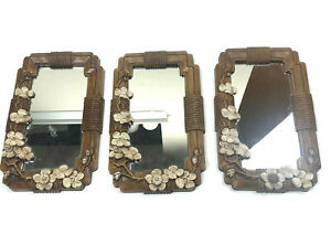 Small Mirror Plastic Floral Frame Vtg Raised Decorative Flowers Brown Set Of 3