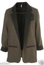 Topshop Premium Oversize Wool Check Tweed Boyfriend Jacket Blazer - Size 8