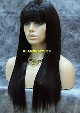 Long Straight With Bangs Jet Black Human Hair Blend Wig Hair Piece #1 NWT