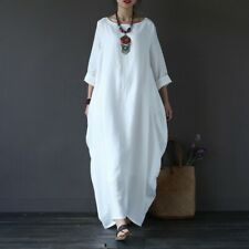 Women Cotton Linen Long Sleeve Hippy Boho Kaftan Long Dress Tunic Dresses US