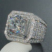 Women Men 925 Silver White Topaz Engagement Wedding Ring Jewelry Gift Size 6-10