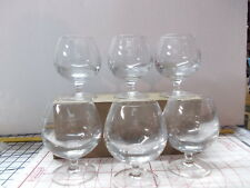6 Clear Heavy Glass Brandy Snifters Classic Stemmed Goblet Barware 5.75